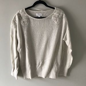 🆕 EUC ELLE ivory sweater with lace detail XL